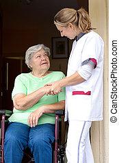 personne agee, fauteuil roulant, patient, infirmière