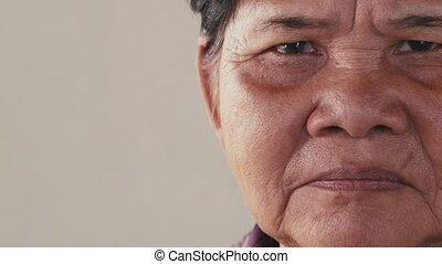 personne agee, femme, asiatique, personnes agées, vieux