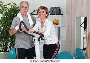 personne agee, fonctionnement, couple, ensemble, dehors