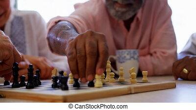 personne agee, gens, maison, mélangé-race, actif, jeu,...