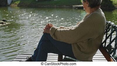 personne agee, gratuite, apprécier, dehors, femme, temps
