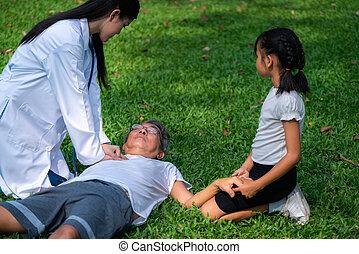 personne agee, ground., docteur, homme, portion, evanoui