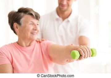 personne agee, haltère, exercisme, femme