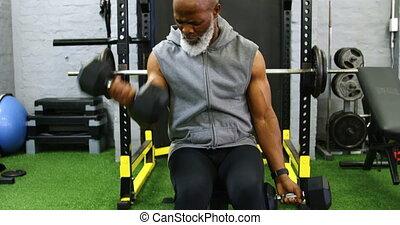 personne agee, haltère, exercisme, homme, 4k