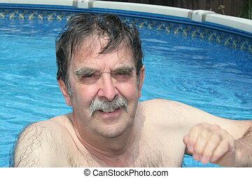 personne agee, heureux, piscine, citoyen