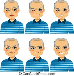personne agee, homme chauve, figure, expressions