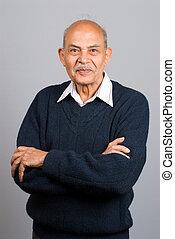 personne agee, indien, homme asiatique