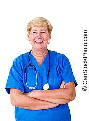 personne agee, infirmière, heureux