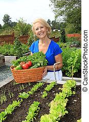 personne agee, jardinier, et, vegetables.