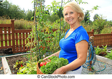 personne agee, jardinier, vegetables.