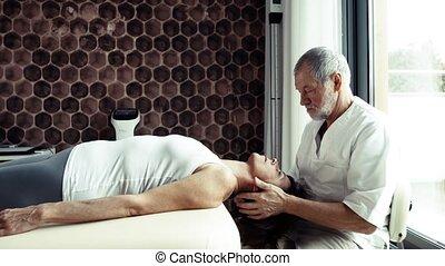 personne agee, kinésithérapeute, fonctionnement, à, a,...