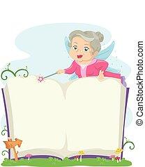 personne agee, livre, godmother, fée