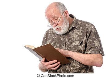 personne agee, livre, verres lecture, homme