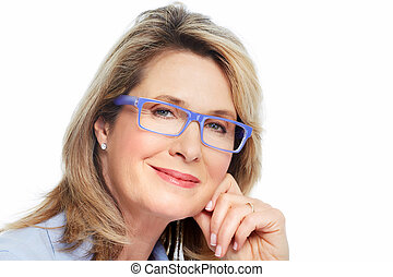 personne agee, lunettes, femme