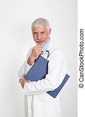 personne agee, main, menton, docteur