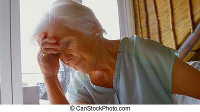 personne agee, maison, confortable, vue, sofa, vieux,...