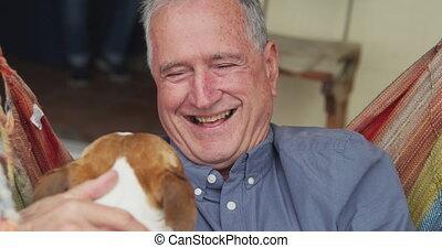 personne agee, maison, sien, homme, chien