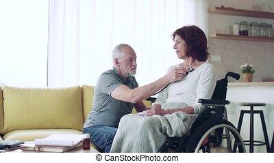 personne agee, maison, visiteur, santé, femme, visit.,...