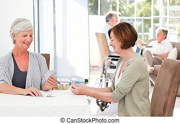 personne agee, maris, leur, cartes, quoique, conversation, femmes, jouer
