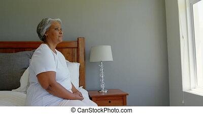 personne agee, noir, maison, chambre à coucher, côté, ...