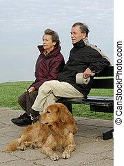 personne agee, parc, couple, banc
