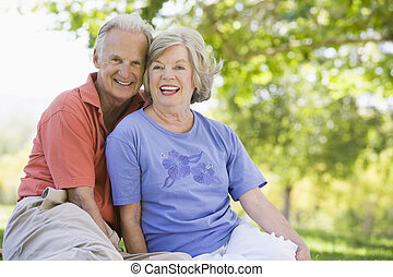personne agee, parc, couple, délassant
