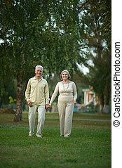 personne agee, parc, couple, promenade