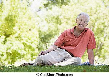 personne agee, parc, délassant, homme