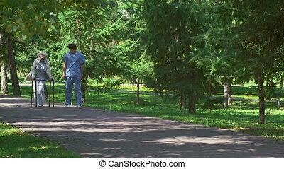 personne agee, patien, salutaire, promenade