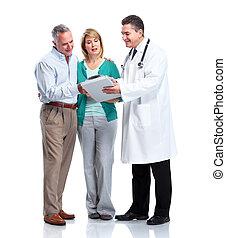personne agee, patient, couple., docteur