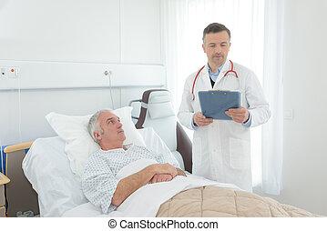 personne agee, patient, lit