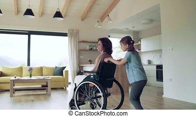 personne agee, petit, girl, grand-mère, fauteuil roulant, intérieur, elle, home.