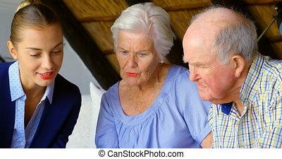 personne agee, propriété, couple, maison, vue, agent,...
