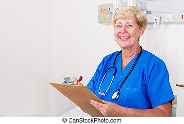 personne agee, pupille, hôpital, infirmière