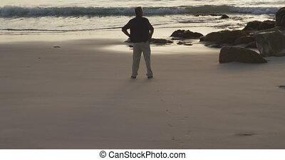 personne agee, regarder, homme, plage, loin