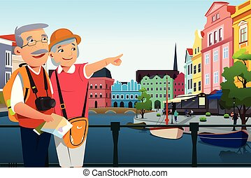 personne agee, retraite, couple, après, voyager