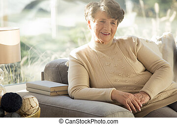 personne agee, séance, chez soi