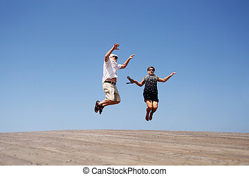 personne agee, sauter, couple