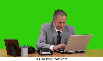 personne agee, sien, bureau, fonctionnement, homme affaires