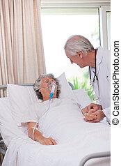 personne agee, sien, docteur, patient, malade