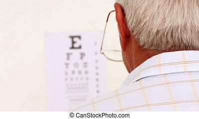 personne agee, sien, nouvelles lunettes, homme, heureux