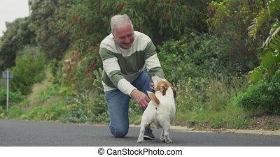 personne agee, sien, rue, homme, chien
