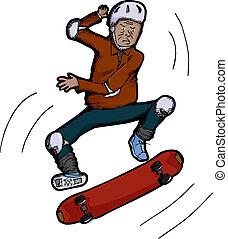 personne agee, skateboarder, citoyen