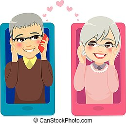 personne agee, smartphone, amour