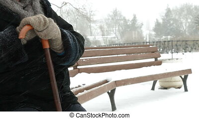 personne agee, solitaire, tempête neige, femme