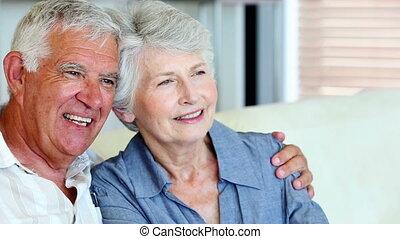 personne agee, sourire, ensemble, couple