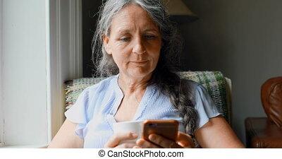 personne agee, téléphone, café, mobile, avoir, quoique, utilisation, 4k, femme