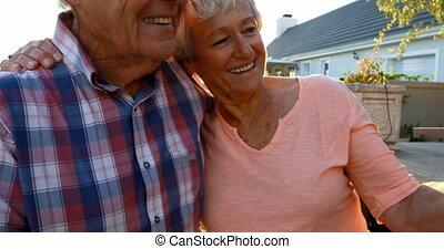 personne agee, téléphone, couple, mobile, selfie, 4k,...