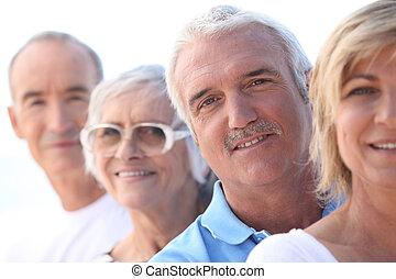 personne agee, tête endosse, couple, mûrir
