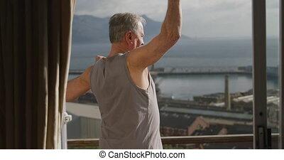 personne agee, terrasse, délassant, homme